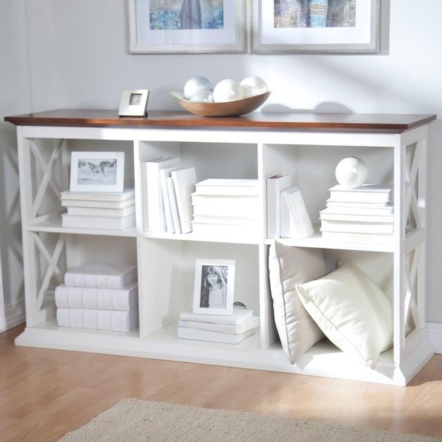 The Hampton Console Table Stackable Bookcase, White/Oak contemporary-bookcases