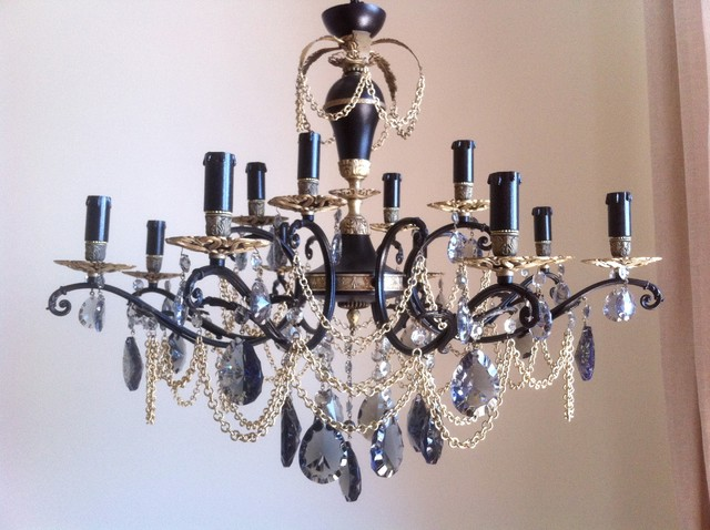 lampadario cristalli : Black and bronze antique repurposed chandelier midcentury