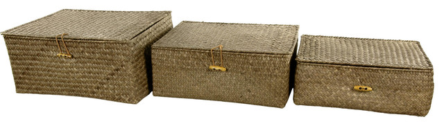 Hand Woven Covered Storage Bin, Set of 3 traditional-storage-boxes