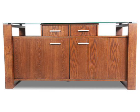 Bryght - Layton Brown Glass Cocoa Sideboard - A modern design with classical undertones, the Layton sideboard is an ideal fit for any dining room or kitchen. The multi storage options of this elegant piece offer versatility and functionality with style.