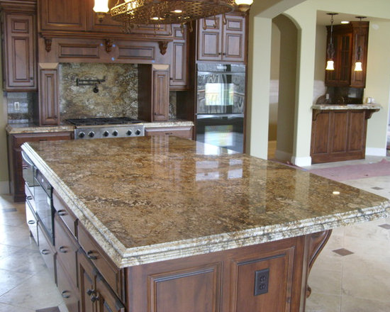 Curry Home - This is the kitchen we installed at the Curry Residence.  The island in this picture was a full slab at 126x69.  The piece had to be supported in a specific way since the material would have sagged in the middle due to the weight.