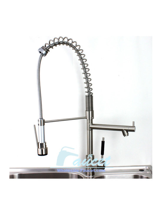 Brushed Nickel pull Out Kitchen Faucet - Features: