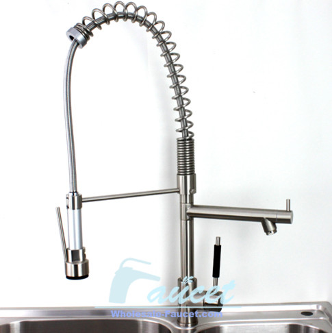 Brushed nickel pull out kitchen faucet contemporary Designer kitchen faucets