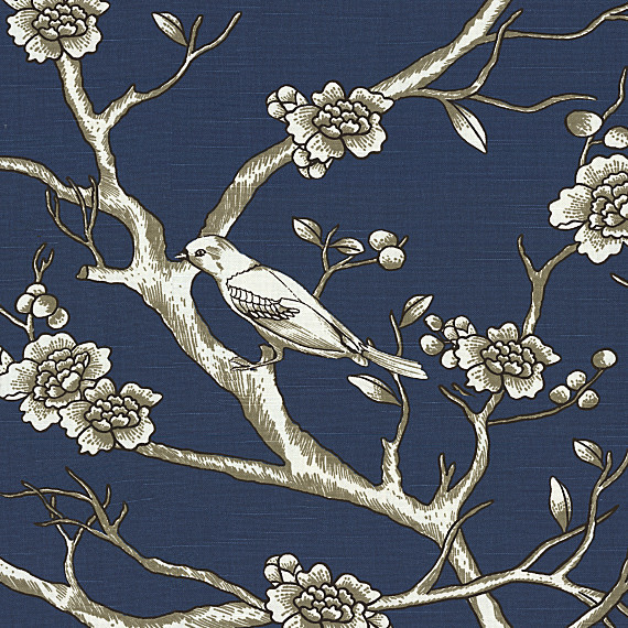 Blue Modern Chinoiserie Cotton Fabric Contemporary