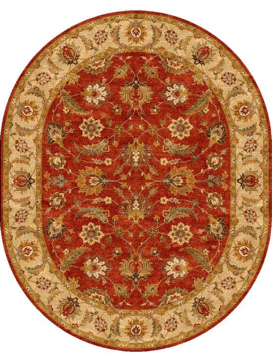 Jaipur Rugs - Traditional Oriental Pattern Red /Orange Wool Tufted Rug - MY04, 8x10 Oval - Sublime hues and graceful lines accentuate the traditional pattern motifs in Mythos, an elegant and value-driven range of durable, hand-tufted area rugs. This sophisticated collection is for the discriminating consumer with a passion for traditional design, at prices that answer every budget. The Mythos Collection is tradition, redefined.