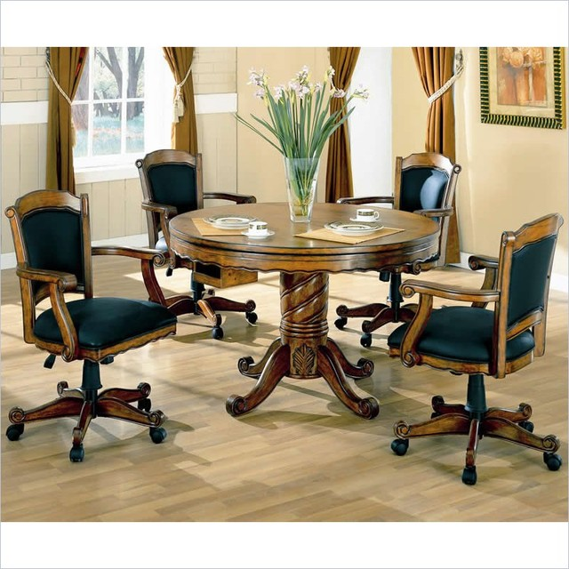 table and chairs 5 piece set in medium o transitional game tables