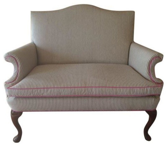 Pre Owned Blue Ticking Stripe With Hot Pink Loveseat Contemporary Sofas