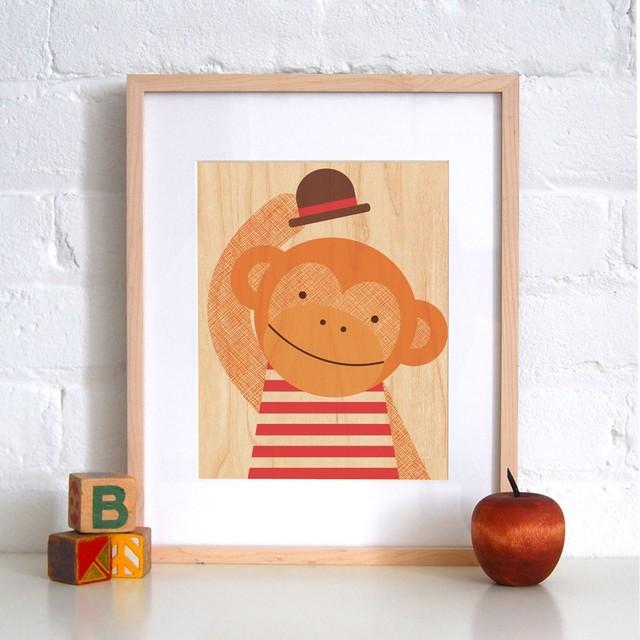 Petit Collage Hello Monkey - Print on Wood modern-kids-decor