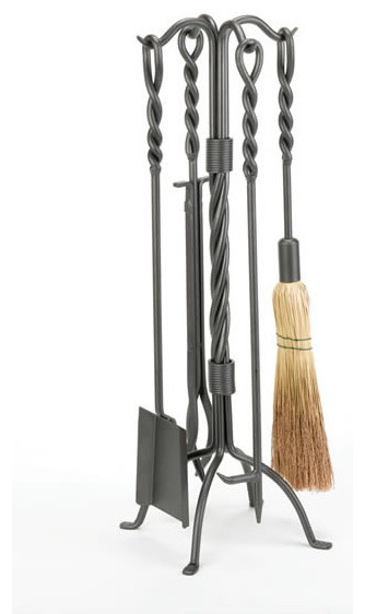 Woodfield 4-Piece Vintage Iron Twisted Rope Tool Set modern-fireplace-accessories
