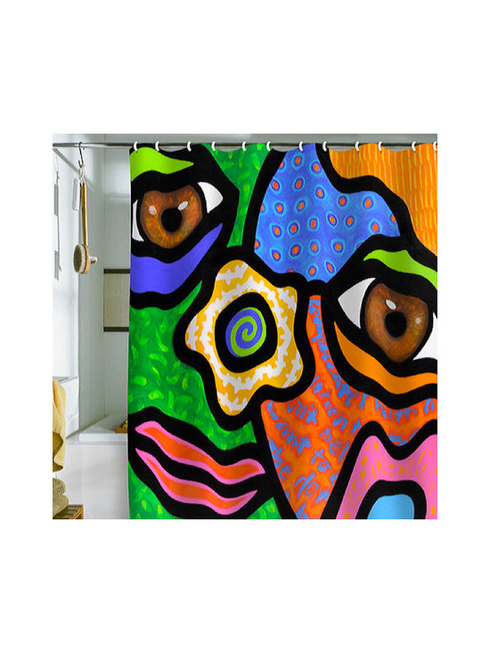 """""""Sweet Escape"""" Shower Curtain - Who says a bathroom can't be fun? Turn an ordinary bath into a work of art with this vivid reproduction of an original painting by Steven Scott. The bright colors will turn any bathroom into a happy space."""