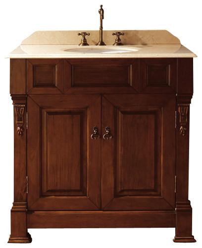 bates 36-in vanity (burnished oak) transitional-bathroom-vanities-and-sink-consoles
