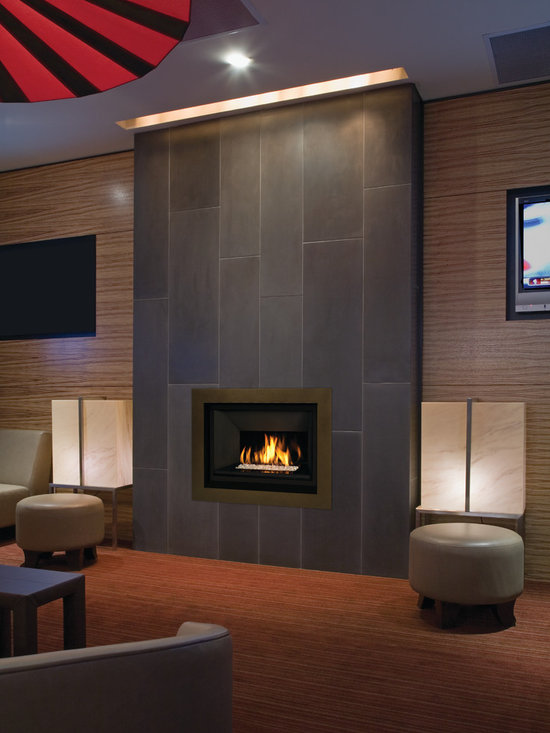 H5 Series Fireplace - 1100I H5 Engine with 1103DGM Murano Glass Set, 1125FBL and 1105RGL Fluted Black Liner with Reflective Glass and 1140FSZ 4 inch 4-Sided Surround in Bronze