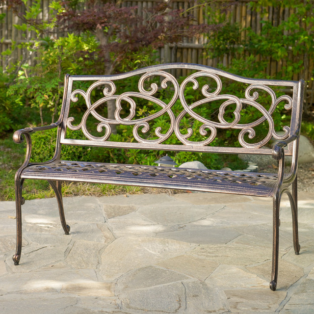 Christopher Knight Home McKinley Cast Aluminum Copper Outdoor Bench contemporary-outdoor-benches