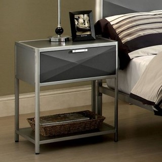 Bronx Metal 1 Drawer Nightstand - Silver and Dark Gray - Modern - Nightstands And Bedside Tables ...
