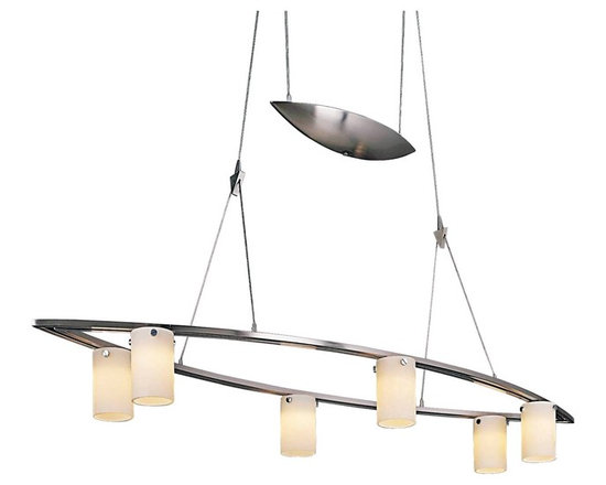 "George Kovacs - George Kovacs 36"" Wide Counter Weight Chandelier - This stylish chandelier from George Kovacs is anything but ordinary. The sleek cat's eye shape makes a bold impression. And the height is easily adjustable making it perfect for multi-purpose spaces. Features a brushed nickel finish and six halogen fixtures surrounded with cased opal etched glass. Brushed nickel finish. Cased opal etched glass. Includes six 20 watt halogen bulbs. Adjusts from 29"" to 77"" high. 36"" wide. 11"" deep.  Brushed nickel finish.  Cased opal etched glass.  Design by George Kovacs.  Designer style large chandelier.  Includes six 20 watt halogen bulbs.  Adjusts from 29"" to 77"" high.  36"" wide.  11"" deep."