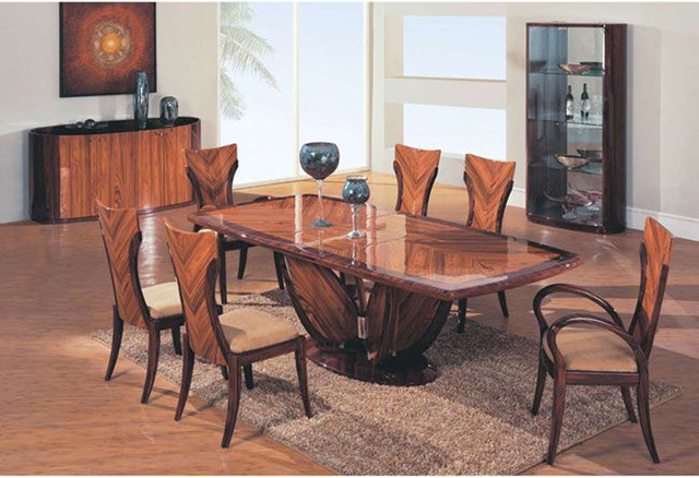 Elegant wooden fabric seats modern furniture table set for Modern wooden dining table designs