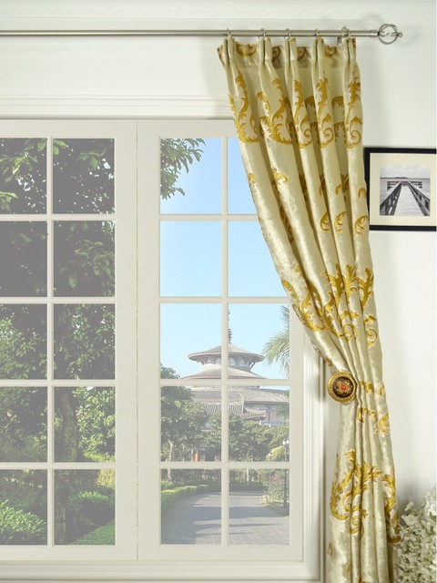 Mid-scale Scrolls Versatile Pleated Velvet Curtains traditional-curtains