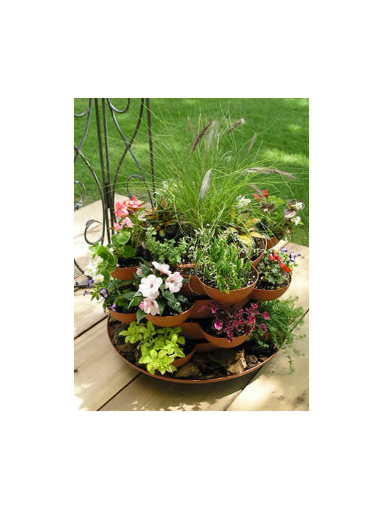 Stacking Deck Planter with Flowers - Incredible indoor / outdoor stackable garden planter with a wheeled base. Just stack & grow. Grow herbs, flowers, house plants, cactus garden, more. Made in the USA. Durable, UV resistant material. 5 colors.
