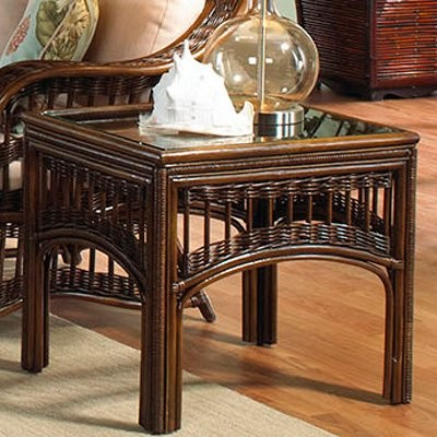 Hospitality Rattan St. Lucia Rattan & Wicker End Table with Glass - Antique modern-bar-tables
