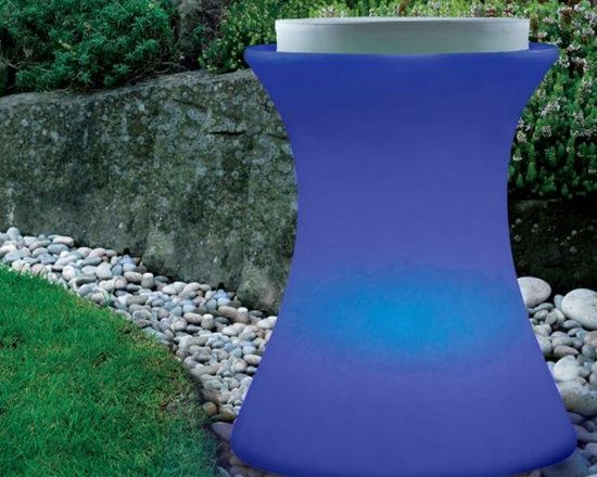 Illuminated Outdoor Stool - Illuminated outdoor stool displays seven colors and is rechargeable.