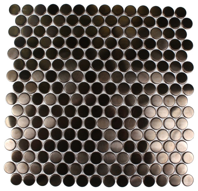 Metal Rose Stainless Steel 3/4 Penny Round Tiles modern-tile