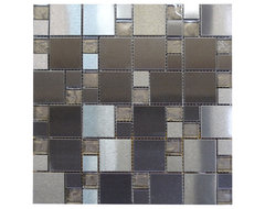 W34 Modular Black Metal & Glass Mosaic contemporary-tile