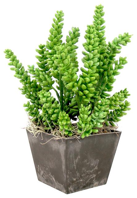 Unique Greenery Arrangement in Black Pot modern-artificial-flowers