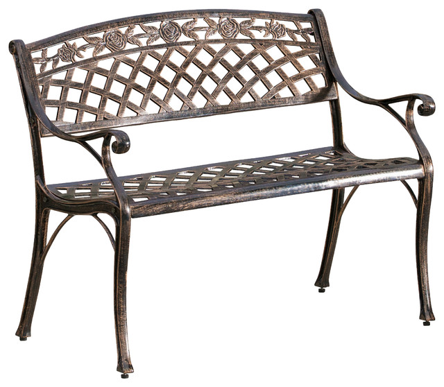 Casablanca Outdoor Copper Cast Aluminum Bench Contemporary Outdoor Benches By Great Deal