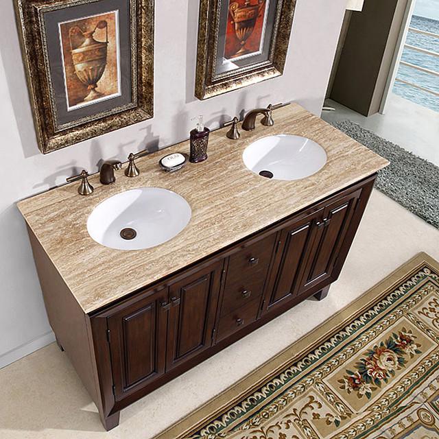 Silkroad Exclusive Alameda 55 Inch Double Sink Dark Brown Bathroom Vanity Contemporary