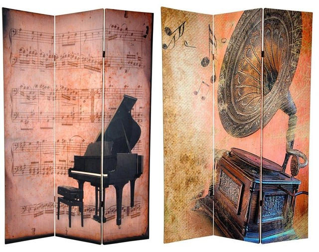 6 ft. Tall Double Sided Music Room Divider - Piano/Phonograph - Eclectic - Screens And Room ...