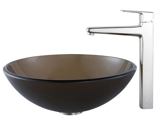 Kraus - Kraus C-GV-103FR-12mm-15500BN Frosted Brown Glass Vessel Sink and Virtus Faucet - Add a touch of elegance to your bathroom with a glass sink combo from Kraus