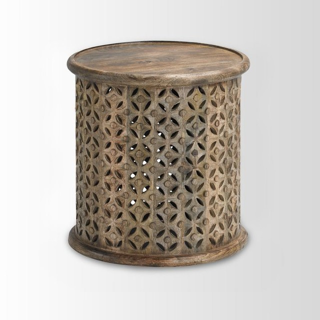 Carved Wood Side Table - Contemporary - Side Tables And End Tables - by West Elm