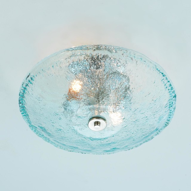 Recycled Bottle Glass Bowl Ceiling Light Beach Style