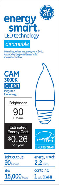 GE Energy Smart 10W Replacement (2.2W) Candle CA11 LED Bulb led-bulbs