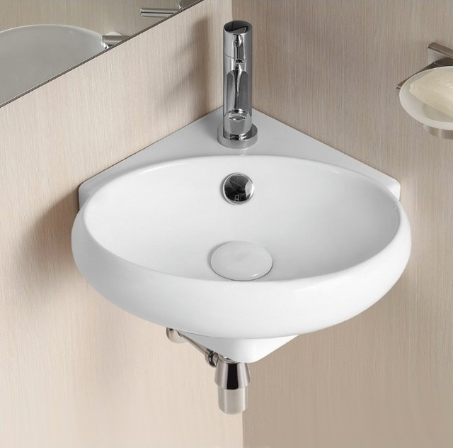 Modern Corner Sink : Corner Wall Mounted Oval Shaped Ceramic Bathroom Sink - Contemporary ...