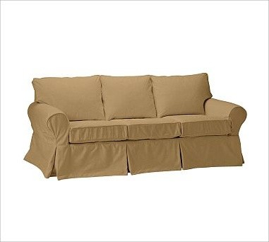PB Basic Love Seat Slipcover, Twill Caramel traditional-chairs