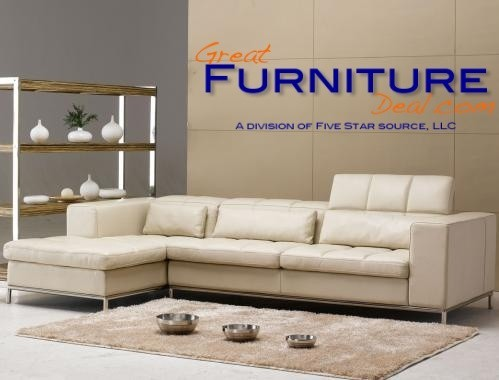 TOSH Furniture Beige Leather Sectional Sofa TOS FY635