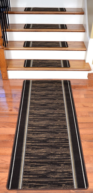 Washable Non-Skid Carpet Stair Treads - Boxer Chocolate (13) PLUS a 5' Runner modern-stair-tread-rugs