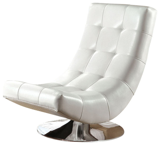 Modern mahogany bycast leather chrome metal swivel accent for Modern swivel accent chair