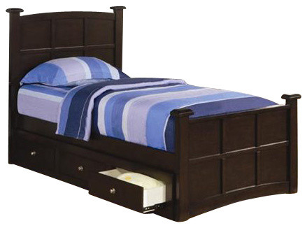 Coaster Jasper 3 Piece Bedroom Set in Rich Cappuccino Finish transitional-beds