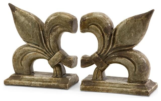 Vintage French Fleur De Lis Ceramic Bookends - Set of 2 transitional-bookends