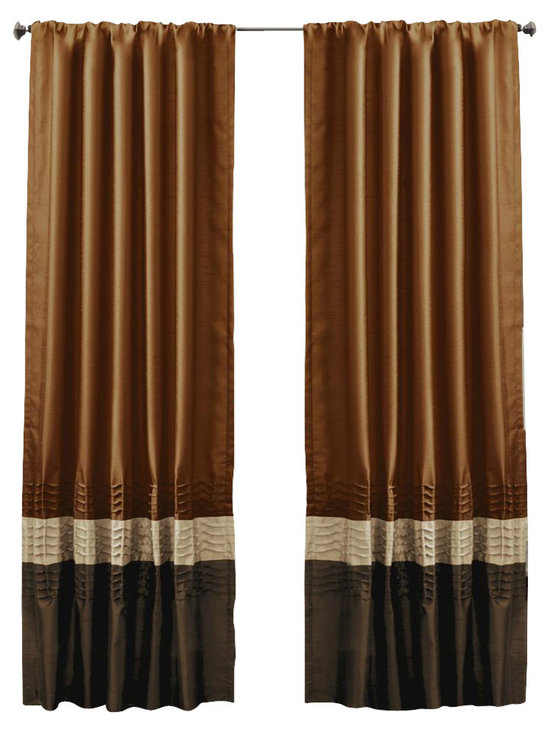Lush Decor - Mia Brown/Rust Window Curtain - Set of 2 - Includes: 2 Window Panels. Fabric Content:100% Polyester. Color: Brown/Rust. Care Instruction: Dry clean. 54 in. x 84 in. Transform and brighten your room with this colorful faux silk window panel. The 3 colors blocks transition into each other with a series of 4 pleats giving the panel a clean and very finished look. There is a rod pocket for quick and easy installation.