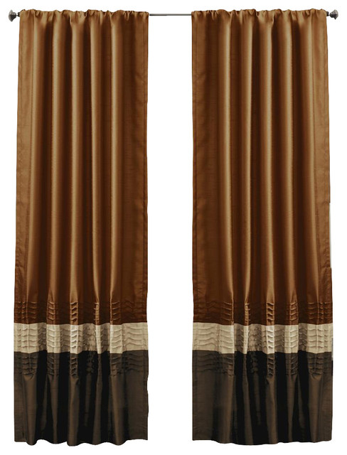 Mia Brown/Rust Window Curtain - Set of 2 contemporary-curtains