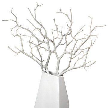 Wood Twig Branch - White Set of 3 modern-vases