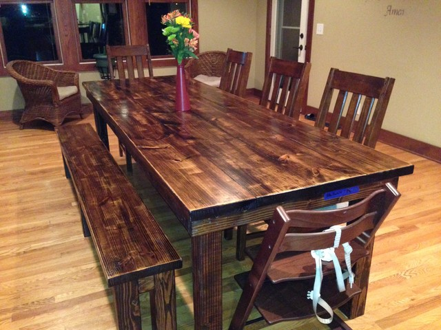 Rustic Farmhouse Dining Room Table Sets: James+James 8' Farmhouse Table In Vintage Dark Walnut