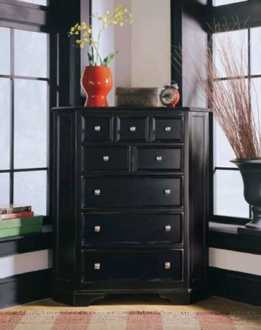 American drew 919 230 corner chest camden black traditional accent chests and cabinets for Black bedroom dressers and chests