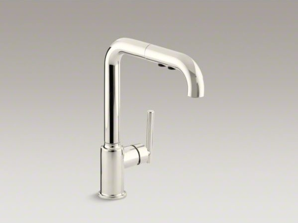 "KOHLER Purist(R) single-hole kitchen sink faucet with 8"" pullout spout contemporary-kitchen-sinks"