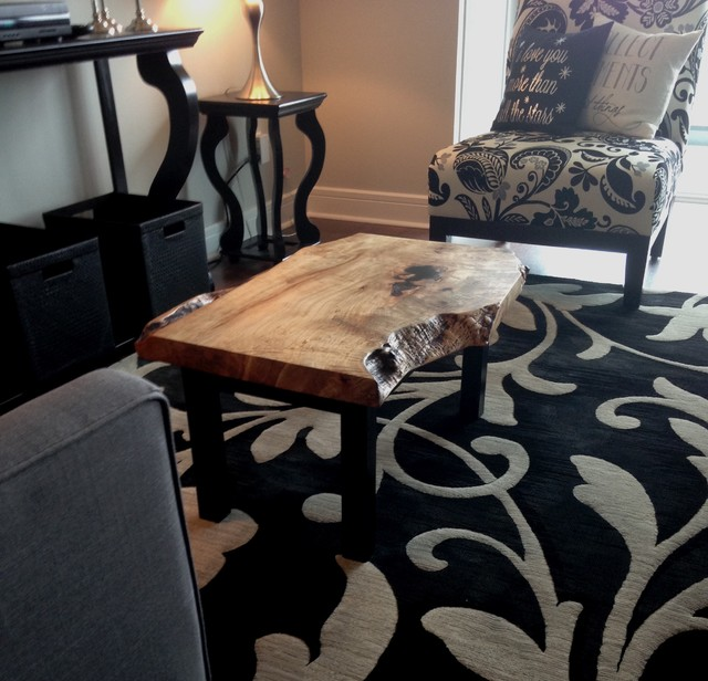 Reclaimed Live Edge Maple Coffee Table Bench Industrial: Maple Live Edge Coffee Table