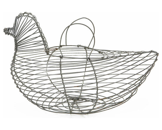 Country Wire Egg Basket - Vintage egg basket shaped like a chicken. All made in wire and holds a dozen eggs.