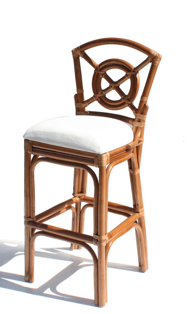Bulls Eye Rattan Bar Stool tropical-furniture
